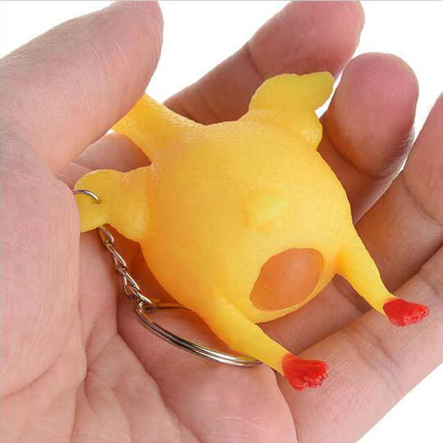 1pcs Funny Gadgets Novelty Antistress Squeeze Chicken Laying Egg Chicken Toys Keyring Surprise Squishy Kids Toys for Halloween