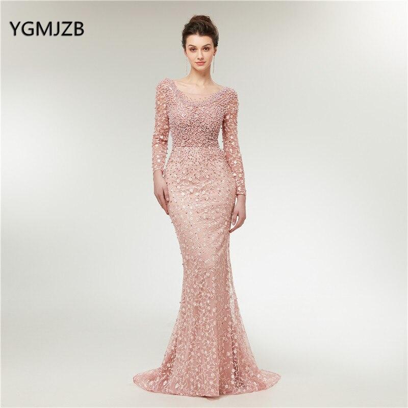 03c44391ae5 Роскошные вечерние платья 2019 Русалка Одежда с длинным рукавом Жемчуг  кружево вышивка розовый для женщин официальная