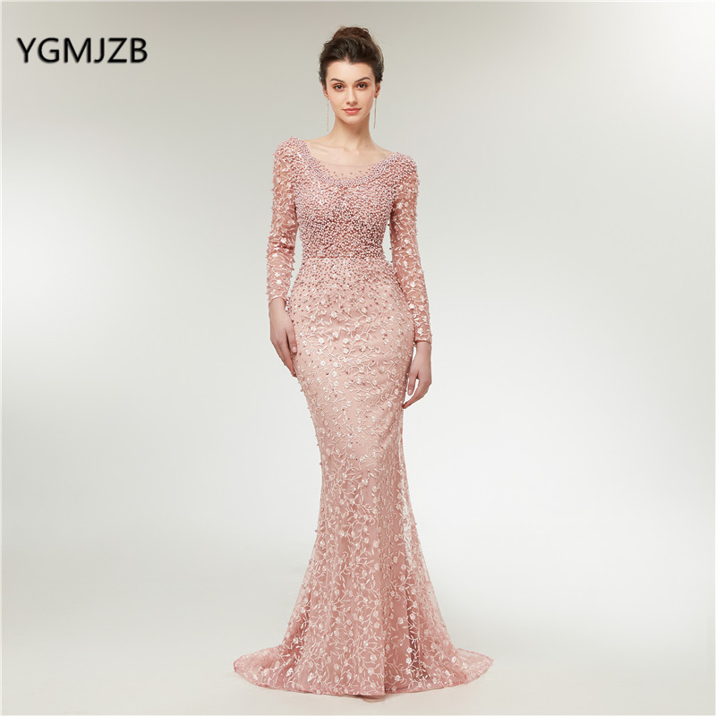 Luxury Evening Dresses 2019 Mermaid Long Sleeves Pearls Lace Embroidery Pink Women Formal Party Gown Prom Dress Robe de Soiree