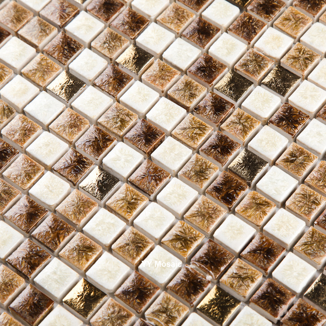 Coffee Brown White Square Chip Kiln Firing Ceramic Mosaic Tile For Bathroom Floor  DIY Kitchen Wash