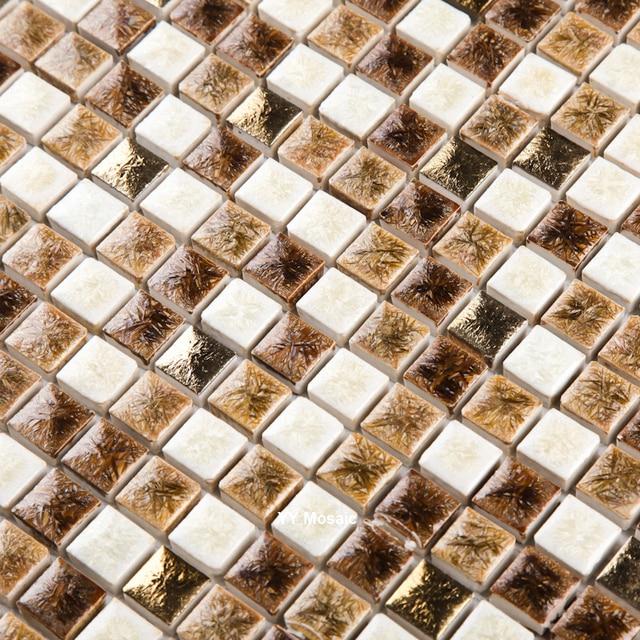 GroBartig Kaffee Braun Weiß Quadrat Chip Ofenbrand Keramik Mosaik Fliesen Für Bad  Boden DIY Küche