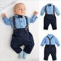 2016 Новый Стиль мода лето джентльмен детская одежда костюм мальчиков длинный рукав хлопок синий плед майка + нагрудник брюки набор 16A12