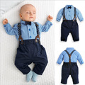 2016 New Style fashion summer gentleman kids clothes suit baby boys long sleeve cotton blue plaid t shirt + bib pants set 16A12