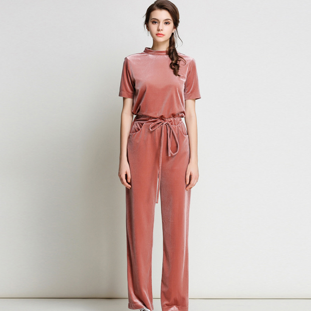 fe6ca4e8f06 2019 New Sumer Spring Thin Velvet Jumpsuit Women Solid Naked Pink Rompers  Womens Jumpsuit Long Pants Mid Waist Jumpsuits Ladies