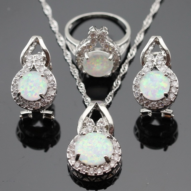 Fire Australia AAA White Opal Silver Color Jewelry Sets For Women Christmas Gift Necklace Pendant Hoop Earrings Rings Box