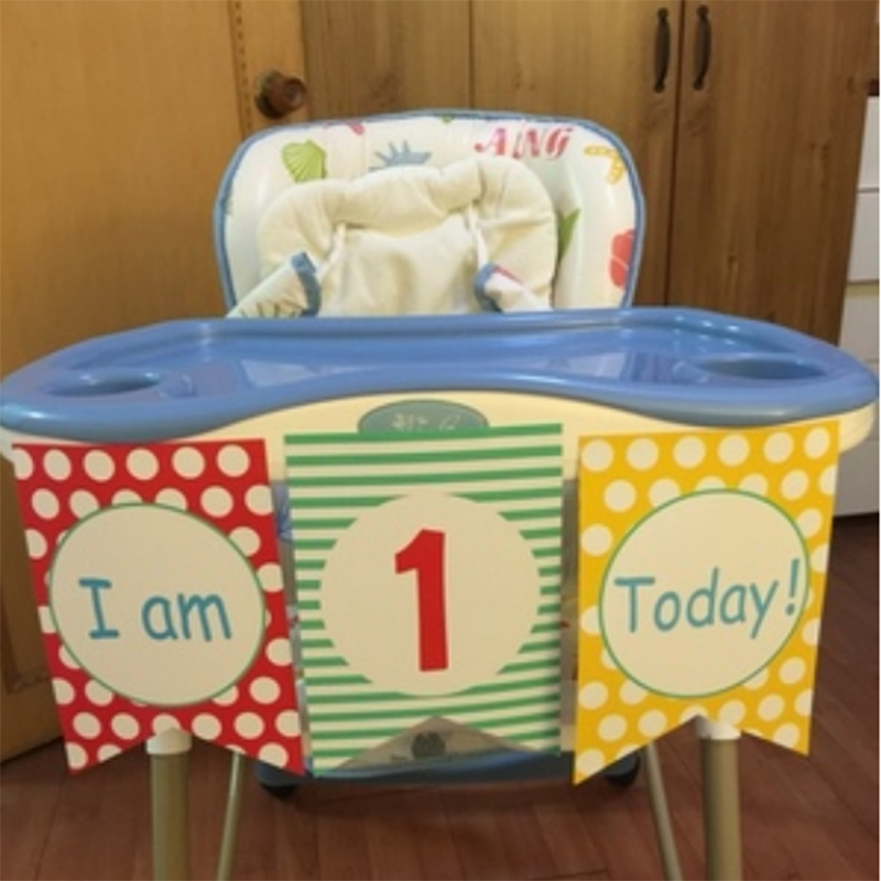 US $1 6 53% OFF|3 pieces/set 1 5M children's 1st Birthday Party High Chair  Decorating Kit Set Baby Shower Room Decoration Banner Bunting-in Banners,