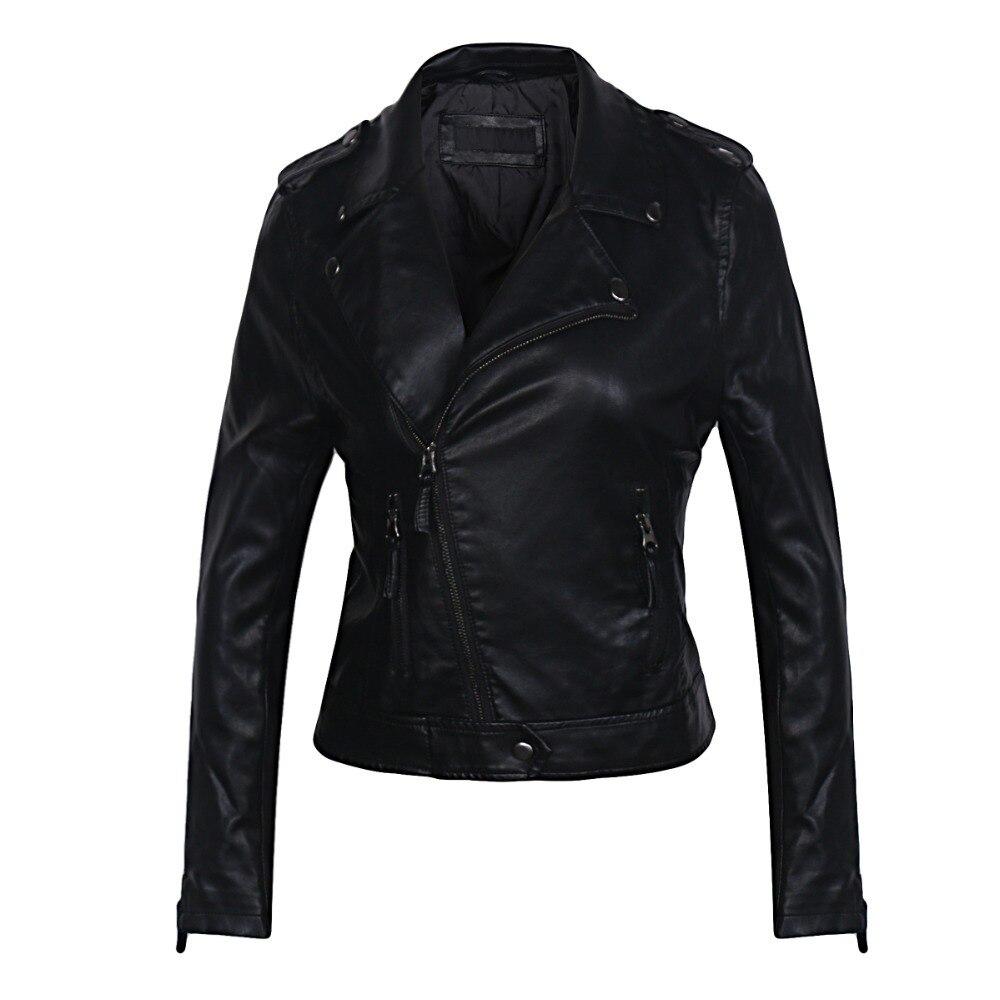 2018 New Fashion Women Soft Faux   Leather   Jackets and Coats Female Slim fit Biker Motorcycle Zipper PU Black Outerwear Hot Sale