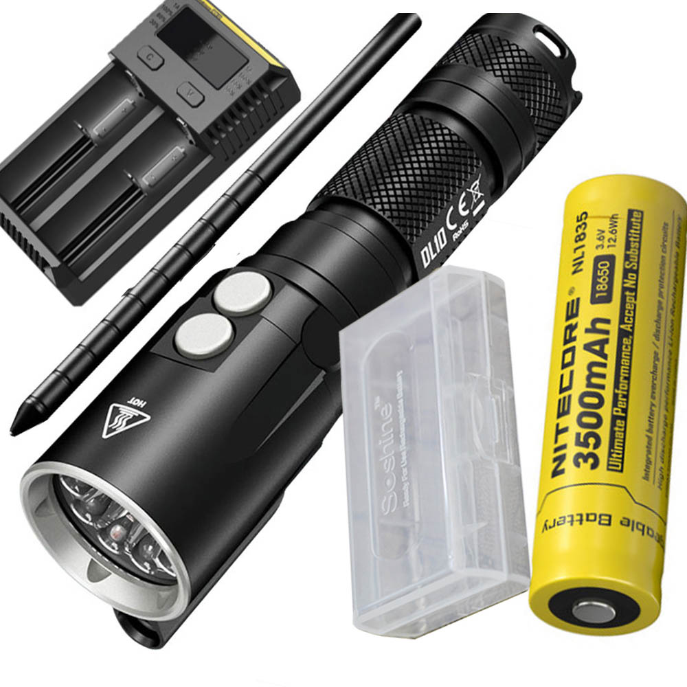 NITECORE DL10 & UM10 Charger 18650 Battery 1000LM CREE XP-L HI V3 LED Diving Light Underwater 30M WaterProof Torch Free Shipping nitecore dl10 underwater diving flashlight 1000 lumens cree xp l hi v3 led