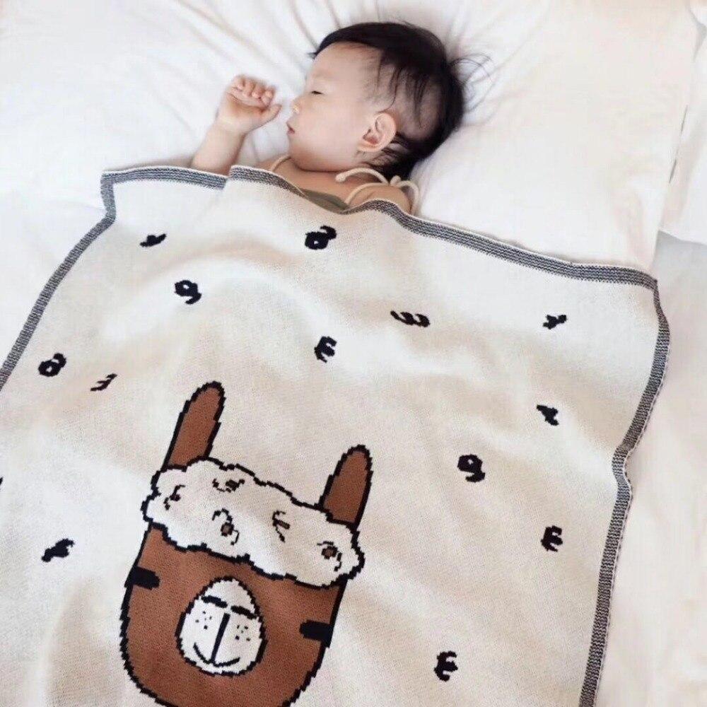 MYUDI - 100*80 cm Baby Cotton Blanket Alpaca Pattern Cute Children Bed Sheet Boy Girl Sleeping Blanket Carton Sheep Swaddle