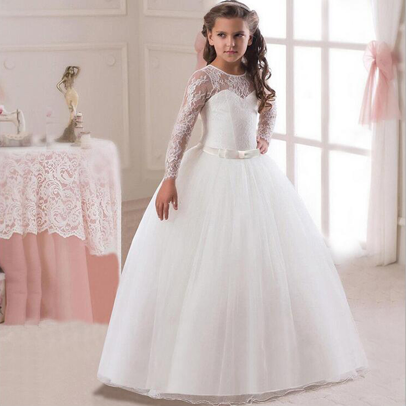 Ball Gown Flower Girl Dresses For Wedding Lace Pageant Communion Dress Long Sleeve Girls Party Dress For Little Girl Toddlers ball gown sky blue open back with long train ruffles tiered crystals flower girl dress party birthday evening party pageant gown