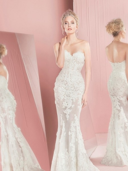 2019 Luxury Generous Wedding Dresses Appliques Lace Strapless Mermaid Bridal Gown Vestidos De Novia Custom Plus Size ZY3601