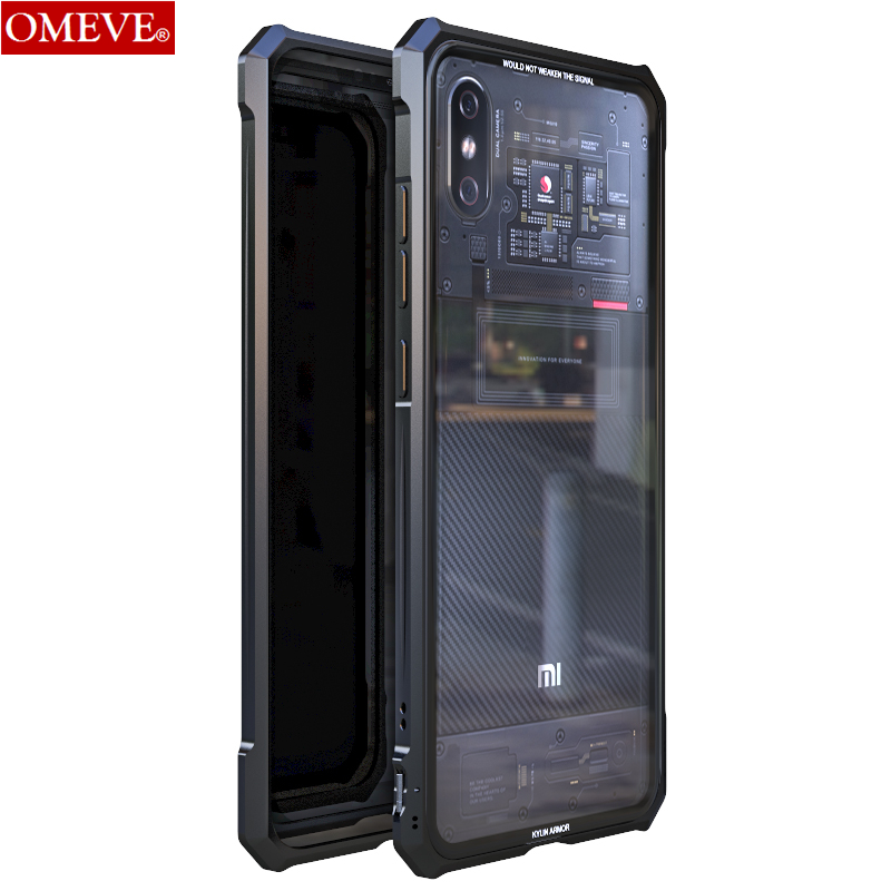 OMEVE for Xiaomi Mi 8 Pro Case Mi8 Explorer Case Alloy Metal Frame Clear Tempered Glass Back Cover Bumper for Mi8 Pro FundaOMEVE for Xiaomi Mi 8 Pro Case Mi8 Explorer Case Alloy Metal Frame Clear Tempered Glass Back Cover Bumper for Mi8 Pro Funda