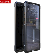 OMEVE for Xiaomi Mi 8 Pro Case Mi8 Explorer Case Alloy Metal Frame Clear Tempered Glass Back Cover Bumper for Mi8 Pro Funda