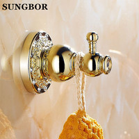 Diamond Golden Robe Cloth Hook Brass Hooks In Bathroom Wall Hook Hanger Single Cloth Hook For