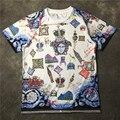 Atacado 2016 nova moda verão meninos machos t camisa grafite camiseta coroa impressa de manga curta T-shirt dos homens T-shirt do Motociclista camisa