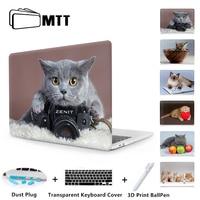 MTT Cat Printed Hard Case For Apple Macbook Air 11 13 Pro 13 15 Retina Mac book Cover 12 inch Notebook Case Animal Laptop Sleeve