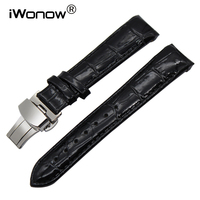 18mm Curved End Genuine Leather Watch Band For Tissot Couturier T035 Lady Butterfly Clasp Belt Wrist