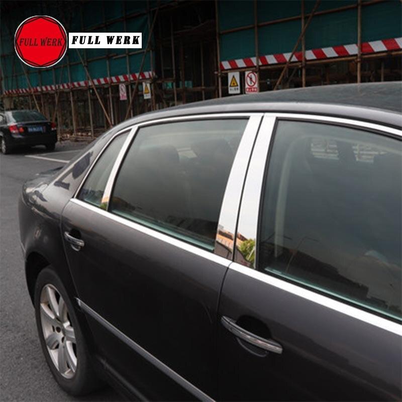 Lot de 6 pièces acier inoxydable voiture style fenêtre pilier autocollant décoration plaque de couverture pour VW Phaeton accessoires extérieurs