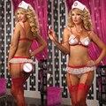 ST097 Hot 2016 Ladies Sexy Lingerie hot Sheer impertinente uniforme da enfermeira lingerie sexy sutiã + t-calças Cruz Vermelha lingerie erótica