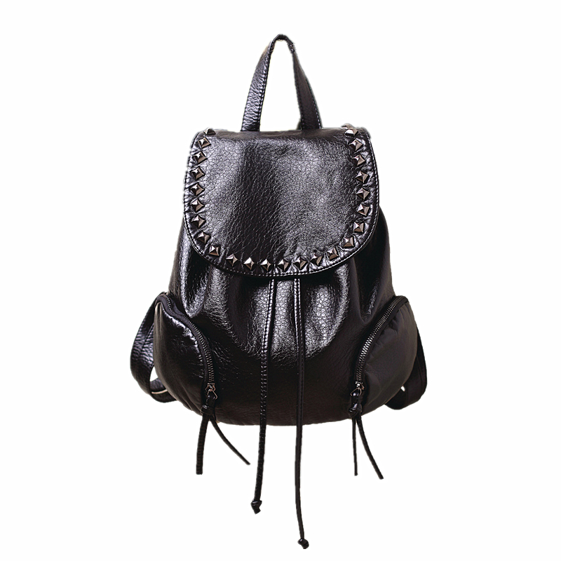High Quality Women Backpacks Lady Girls Travel Mochila Women Bags Washed Leather Backpacks Rivet Backpacks Student School Bag sitemap 136 xml