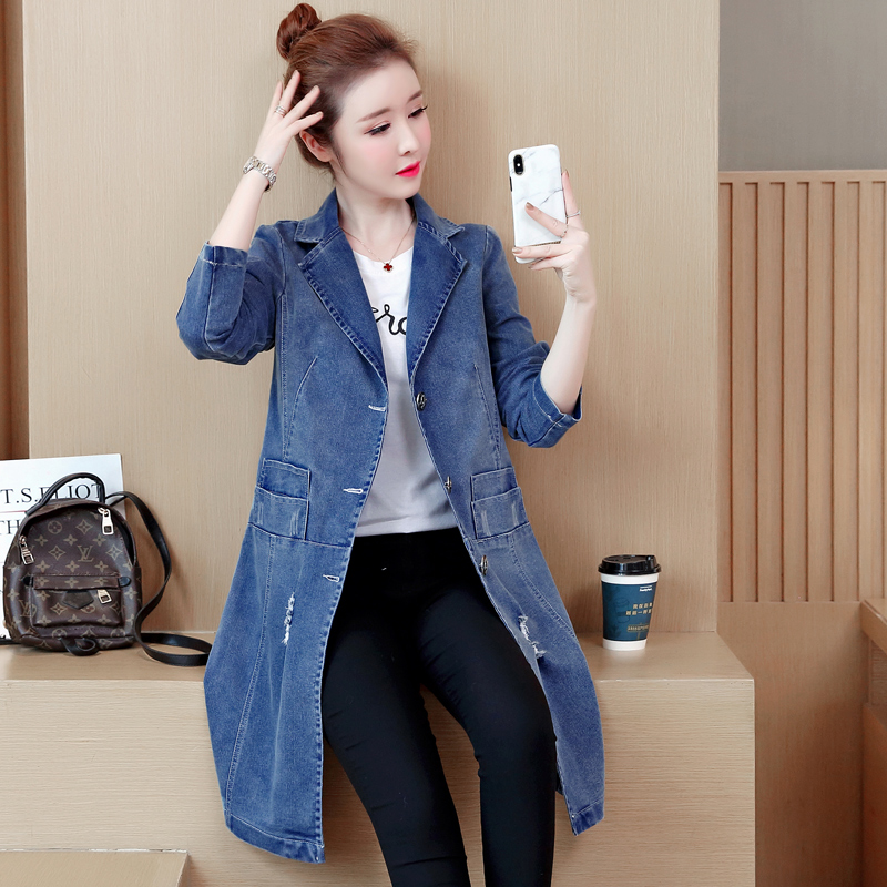New Spring Autumn Women Coat Plus Size Fashion Causal Loose Solid Hole Pocket Jeans   Trench   Coat For Women Larger Denim Outerwear