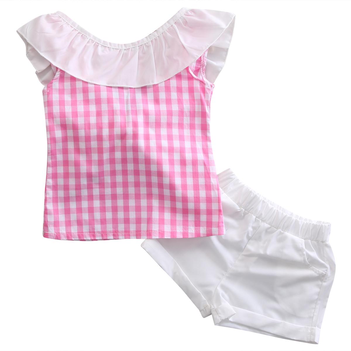 Summer Kids Girls Bowknot Plaids T-shirt Tops Bottom Shorts Clothes Outfits  Set Pink Green Ruffles Children Clothing