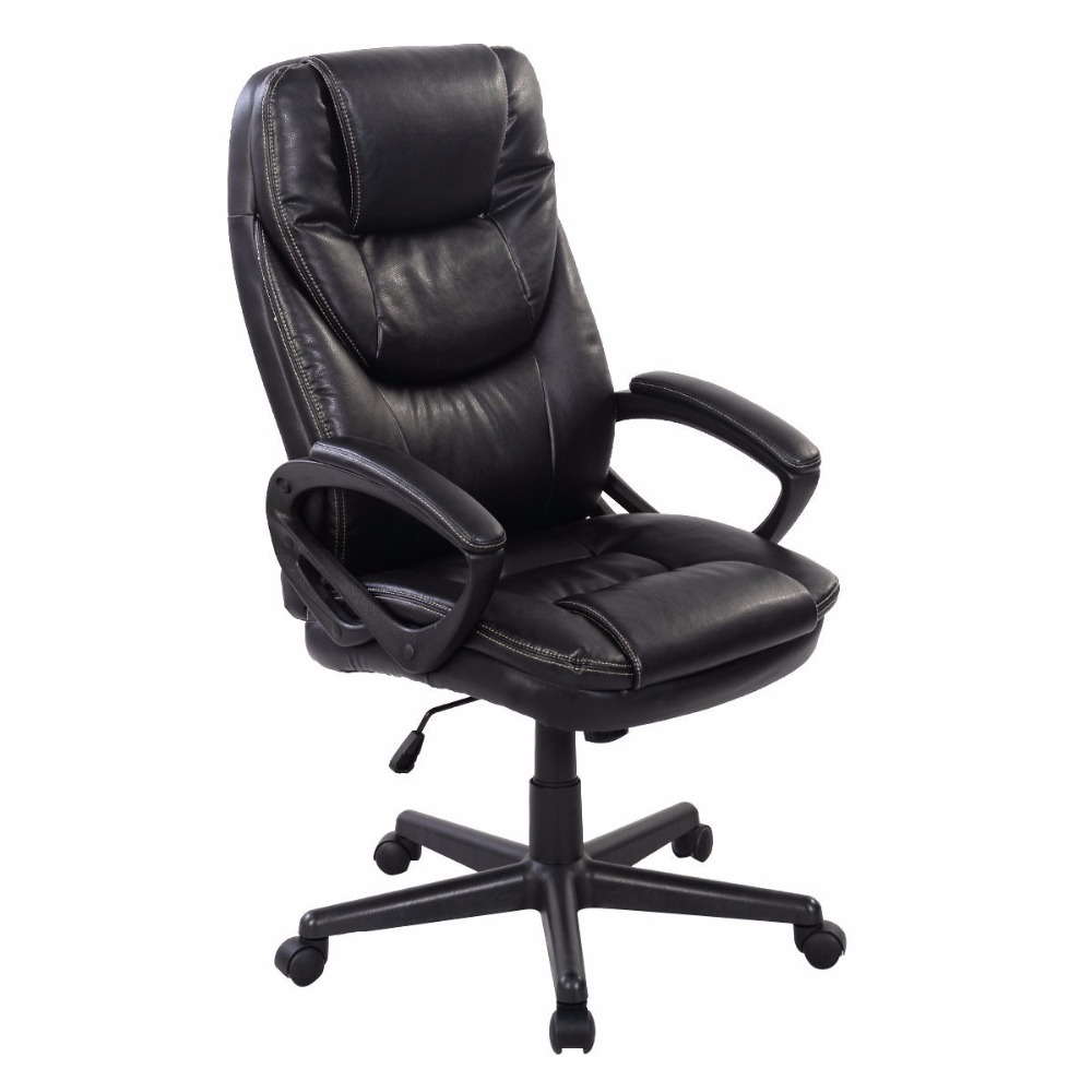 Goplus Black PU Leather High Back Office Chair New Task Ergonomic Computer Desk Chairs Swivel Lifting Gaming Chair HW50414 240337 ergonomic chair quality pu wheel household office chair computer chair 3d thick cushion high breathable mesh