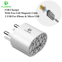 FLOVEME Magnetic USB Cable Upgraded 1 Line 2 USB For IPhone 7 6 6S Plus 5