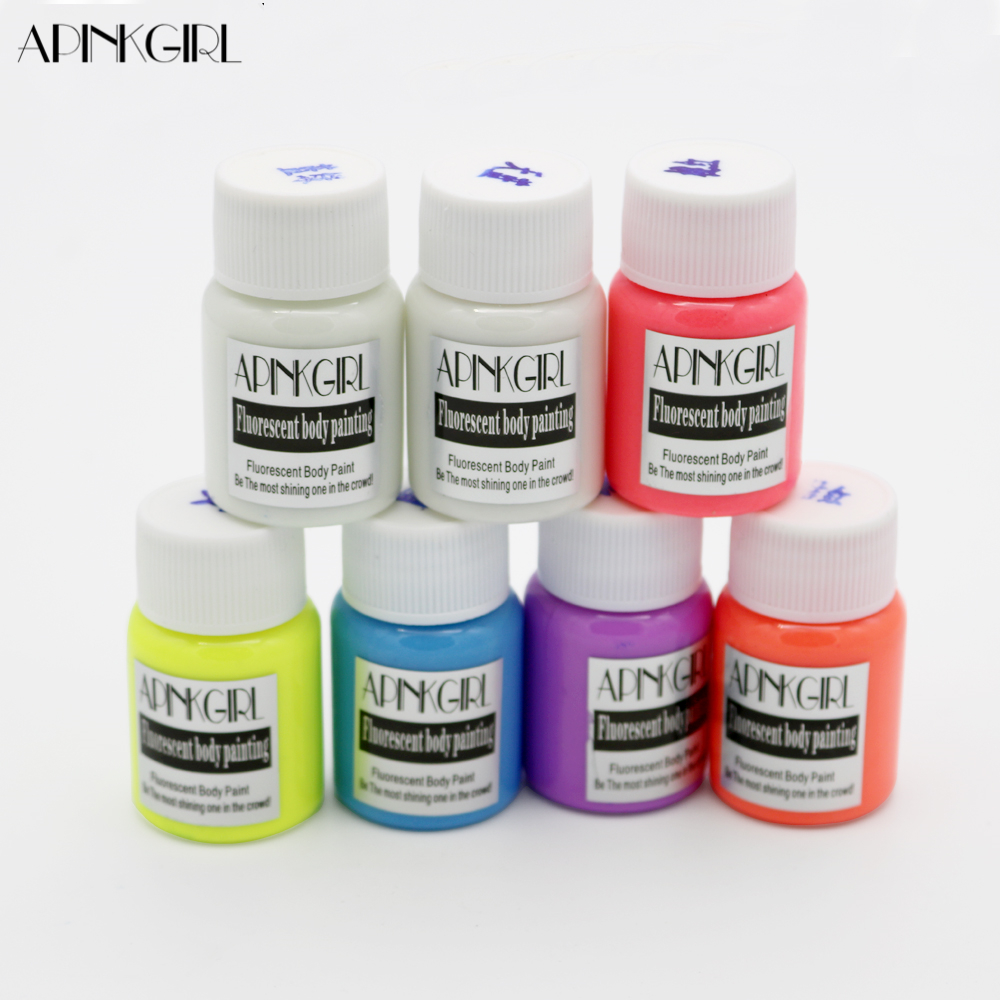 APINKGIRL Neon Fluorescent UV Body Paint Grow In The Dark Face Painting Luminous Acrylic Paints Art for Party & Halloween Make Up