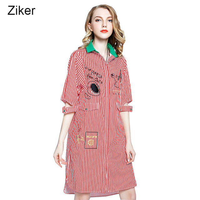 US $22.33 5% OFF|Ziker New 2017 Fashion Spring Summer Dresses Women Striped  Loose Plus Size Dress Turn Down Collar Half Sleeve Casual Shirt Dress-in ...