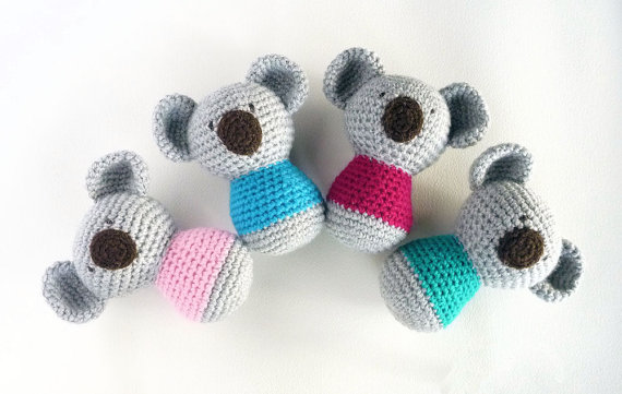 Crochet Koala Toy Rattle, Amigurumi Koala Rattle , Koala Bear,, Stuffed Animal,
