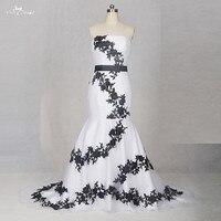 TW0204 Amovible Ceintures Pas Cher Robes De Mariée Made In China Noir Et Blanc Robe De Mariée Sirène