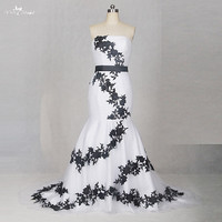TW0204 Detachable Sashes Cheap Wedding Dresses Made In China Black And White Wedding Dress Mermaid