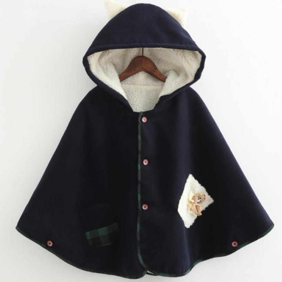 Lapin dark Châle Velours De À Gray Blue Oreilles Capuchon Poupée Nouveau Doux Plus Japonais Laine Manteau Animé Dessin qvnaxwF4R0