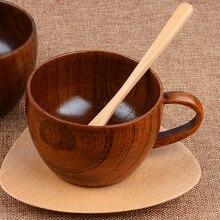 Protección del medio ambiente creativo de madera maciza té tazas tazas con asas y viento madera drinkwares