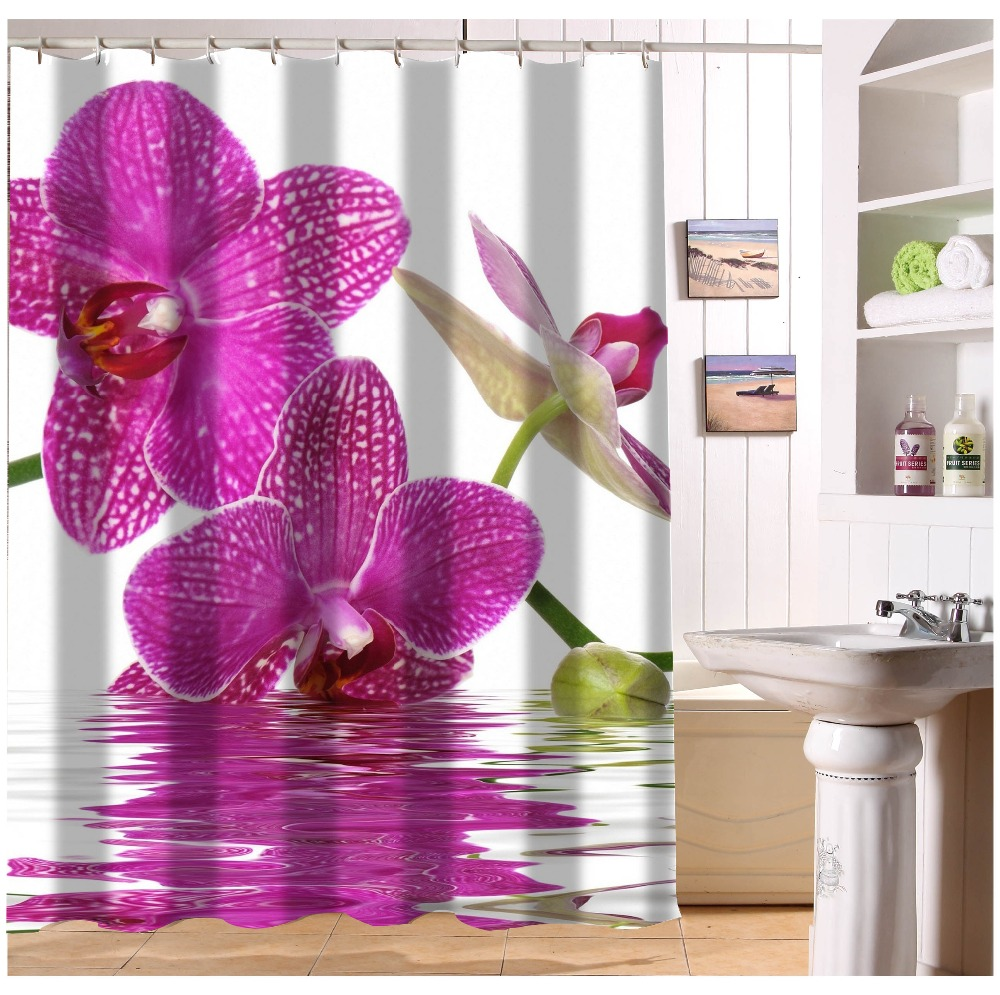 Elegant Colour Orchid Flower Fabric Shower Curtain Custom Modern Home Decor European Style bathroom Curtains