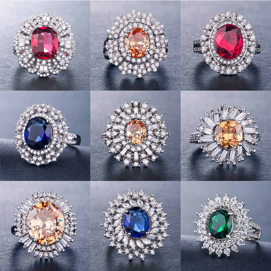 Huitan Luxury Flower Ring For Women Fashion Standard Retro Wedding Ring Colorful Daisy Cocktail Party Lady Rings New Year's Gift