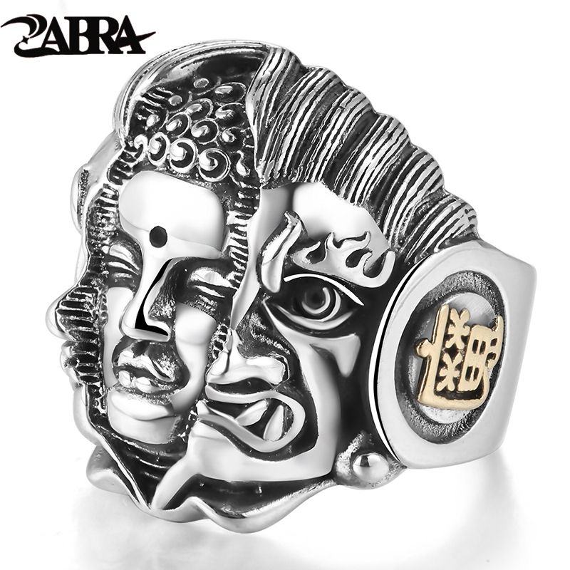 ZABRA 925 Sterling Silver Mens Rings Religion Buddhist Pray Men Ring Adjustable Size Buddha Devil Vintage Biker Gothic Jewelry