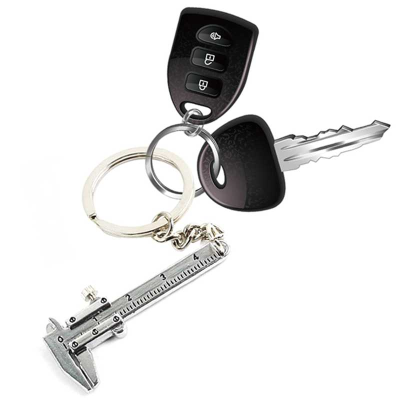 Mini Vernier Caliper Aksesoris Gantungan kunci Mobil Styling untuk mazda audi BMW Toyota Opel dll Keychain Turbo mobil gantungan kunci