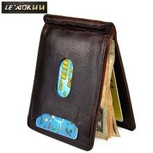 Purse Money-Clip Wallet Pocket Photo-Holder Magnetic Genuine-Leather Male Front Case-Design