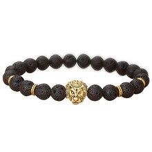 Wholesale Gold Color Buddha Leo Lion Head Bracelet Black Lava Stone Bead Bracelets Men Women Jewelry Rope Chain Strand Bracelet