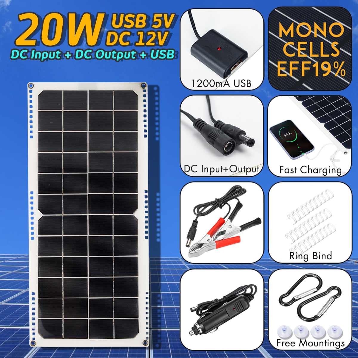 LEORY 14V 20W 1.5A Waterproof Solar Panel USB Monocrystalline Solar Panel with Car Charger for Outdoor Camping Emergency Light image