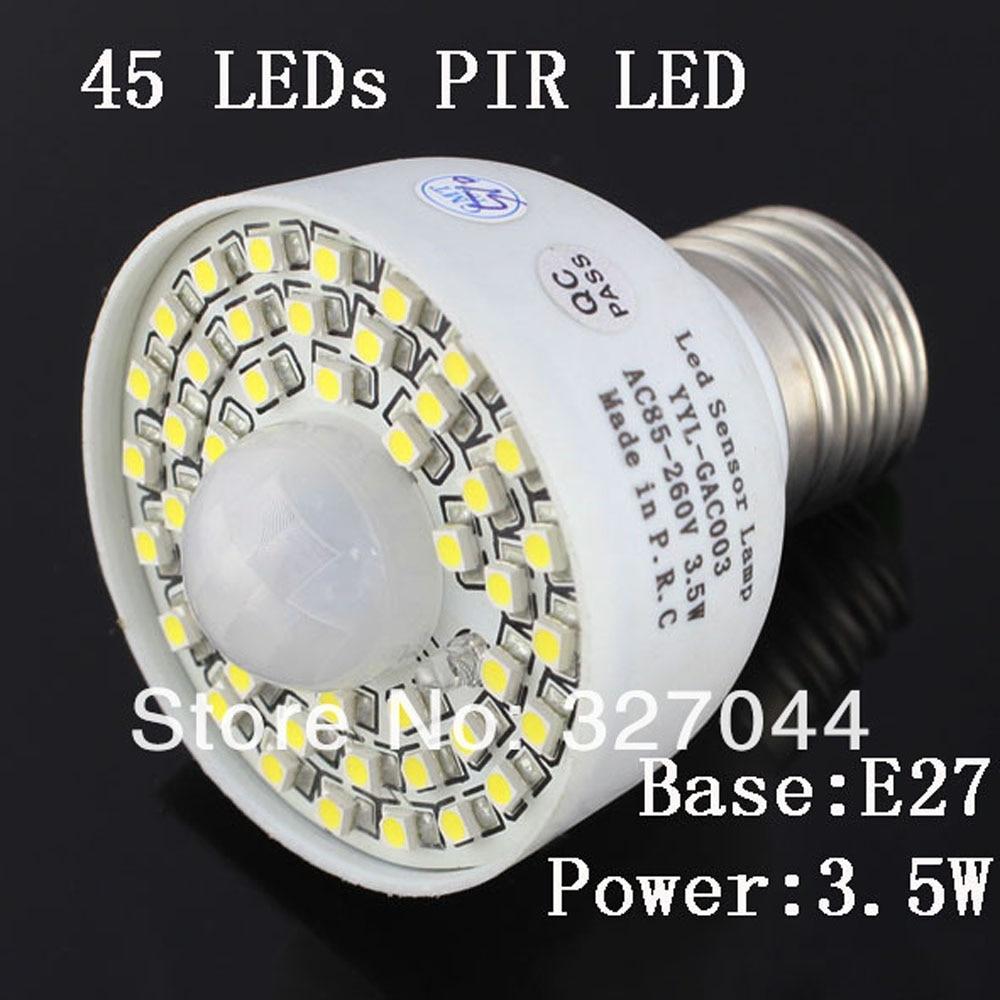 10 stks wit/warm wit E27 110 v 220 v 85 265 v 45 Leds PIR Schakelaar motion sensor Lamp Detector licht Lamp