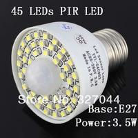 10pcs white/warm white E27 110v 220v 85 265v 45 Leds PIR Switch motion sensor Bulb Detector light Lamp