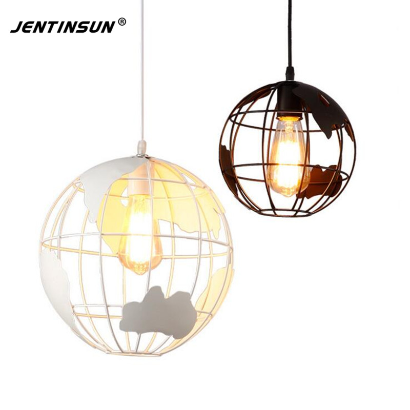 Nordic Vintage Round Ball Globe Pendant Light Black White Iron LED Lamp for Dining Room Living Room Hanging Lights lamparas футболка globe smoke tee vintage black