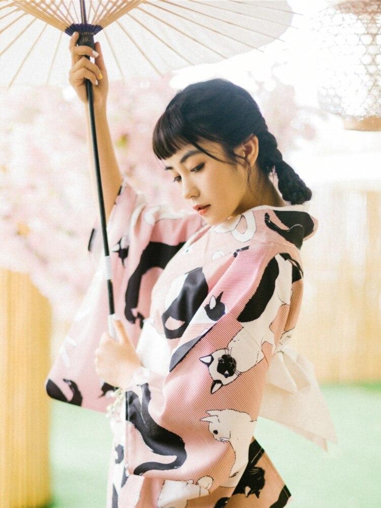 2019 Yukata Japanese Kimono Robes Pajamas Sets Dress Suits Nightgown Bathrobe Leisure Japanese Kimono Traditional Yukata Women