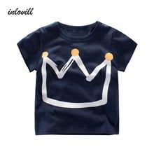 Summer Kids Boys T Shirt Crown Print Short Sleeve Baby Girls T-Shirts Cotton Children's T-Shirt O-Neck Tee Tops Boy Clothes все цены