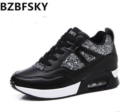 2017 Bling Womens Casual Shoes Spring Autumn Breathable women Shoes Wedges Light Soft Black Shoes Zapatillas Deportivas Hombre