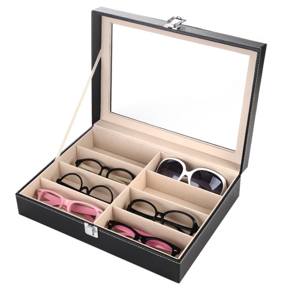 8 Grids PU Leather Glasses Storage Box Sunglasses Show Box Eyeglasses Organizer Collector Household Shop Supplies Organizer Box