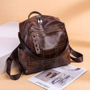 Image 4 - Women Vintage Backpacks Multi function High Quality Leather Backpack For Girls Large Female Bag School Shoulder Bags 2020 XA266H